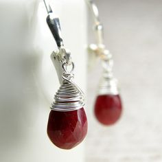 Ruby Earrings Sterling Silver Red Gemstone Teardrop by fineheart, $58.00