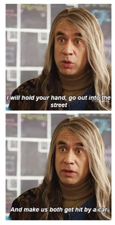 Portlandia. i love the all of the sudden serious music that comes on when he says something aggressive. soooo funny.