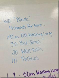 Blake WOD: 4 rounds - 50m OH walking lunges, 30 box jumps, 20 WBs, 10 push ups