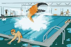 Chlorine (Cl) is illustrated by a swimming pool and a giant Claw.