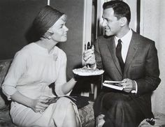 """Doris and Tony Randall eating candy in her dressing room during the making of """"Pillow Talk"""". I Really Liked Tony Randall. Old Movie Stars, Classic Movie Stars, Vintage Hollywood, Classic Hollywood, Glamour Movie, Doris Day Movies, Tony Randall, Hooray For Hollywood, Hollywood Stars"""