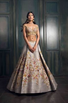 Looking for Light grey lehenga with multicolored embroidery and gold detailings? Browse of latest bridal photos, lehenga & jewelry designs, decor ideas, etc. on WedMeGood Gallery. Indian Bridal Outfits, Indian Bridal Lehenga, Indian Bridal Wear, Indian Ethnic Wear, Bridal Dresses, Indian Skirt, Dress Indian Style, Indian Dresses, Gold Lehenga