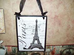 Paris decor Eiffel Tower plaque sign French decor