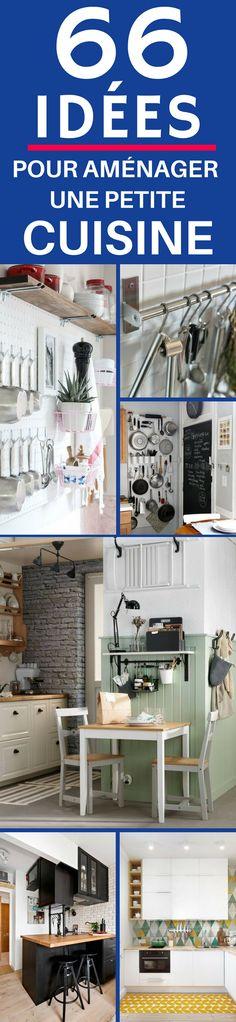Cliquez sur cette épingle et découvrez 66 idées pour aménager une petite cuisine de manière fonctionnelle et pratique. Vous manquez de place dans la cuisine, mais plus d'idées pour l'aménager !