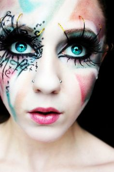 Scary doll makeup. OMG this is amazing! Love the button eyes a la ...