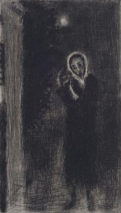 Bohuslav Reynek- Dívka Monochrome Painting, Dark Images, Light And Shadow, Macabre, Painters, Figurative, Painting & Drawing, Printmaking, Darkness