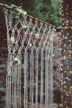macrame wedding backdrop... might be kind of cute in the backyard though!