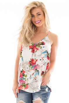 a3235d83a854 Ivory Floral Printed Camisole Top Floral Tops, Floral Prints, Cute  Boutiques, Cute Tops
