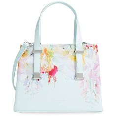 Ted Baker London 'Hanging Gardens' Floral Print Faux Leather Shopper ($195) ❤ liked on Polyvore featuring bags, handbags, tote bags, mint, white purse, floral tote, vegan handbags, ted baker tote bag and vegan tote bag