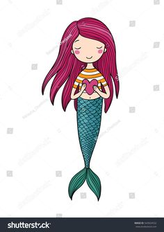 Cute little mermaid with heart. Siren. Sea theme. vector illustration on a white background.