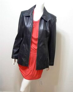 WOMEN KENNETH COLE REACTION leather coat jacket size M Black #KENNETHCOLEREACTION #BasicCoat