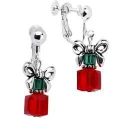 Handcrafted Holiday Present Clip On Earrings Created with Swarovski Crystals