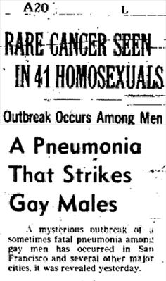 July 3, 1981 — The New York Times runs the first story about AIDS, then called GRID (Gay-Related Immune Disorder), and a world-nightmare begins.