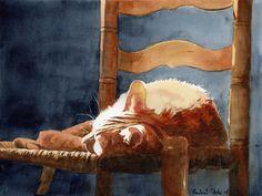 Rachel Parker (American): Beauty Sleep; watercolour on paper.