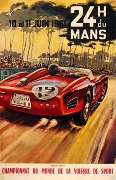 24 Heures du Mans 1961 - original vintage car racing event poster by Beligond listed on AntikBar.co.uk