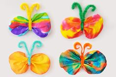 Create colorful butterflies out of coffee filters, pipe cleaners, and some food coloring or washable markers. Spring Crafts For Kids, Crafts For Kids To Make, Kids Crafts, Butterfly Kids, Butterfly Crafts, Coffee Filter Crafts, Coffee Filters, Fun Activities For Kids, Kids Fun
