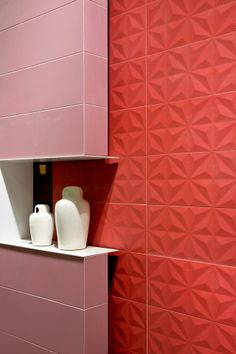 #Pink & #Red #Bathroom Lovely combination   #tiles #ceramics #wall #decor