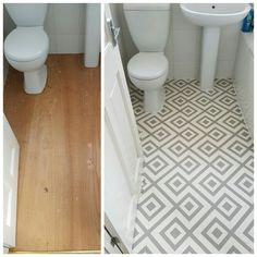 Before and after example of a cushion vinyl floor