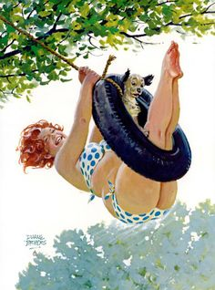 "Hilda - with dog on tire swing - In the mid-1950s, Duane ""Dick"" Bryers began painting a series of happy-go-lucky calendar girls."