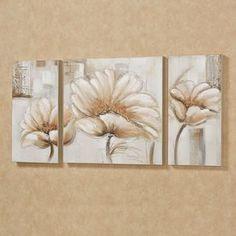 Blooming Splendor Toile Art Set Crème ensemble de trois