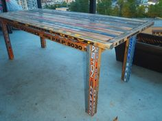 Table made out of hockey sticks. I'm totally making a coffee table version of this for Anthony!!
