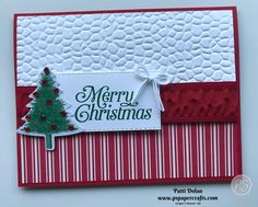 Simple Merry Christmas Card DIY Handmade Christmas Card featuring the Hammered Metal Embossing Folder, Toile Tidings DSP, the Perfectly Plaid Bundle and Real Red [. Scrapbook Christmas Cards, Simple Christmas Cards, Beautiful Christmas Cards, Homemade Christmas Cards, Stampin Up Christmas, Christmas Cards To Make, Noel Christmas, Handmade Christmas, Homemade Cards