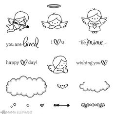MAMA ELEPHANT: Love From Above x Clear Photopolymer Stamp Set) This package contains Love From Above: five sentiment and thirteen image stamps. Approximate measurements: Cupid x Cloud x Be Mine x Hand Embroidery Patterns, Vintage Embroidery, Kritzelei Tattoo, Mama Elephant Stamps, Lazy Daisy Stitch, Elephant Love, Elephant Design, Cute Doodles, Tampons