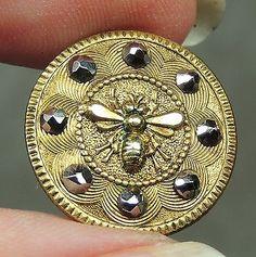 Brass Picture Button Bee w Cut Steels Metal | eBay