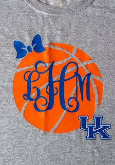 Get ready for March Madness with this shirt that has large basketball design on front of shirt with bow, monogram and University of Kentucky Basketball Mom Shirts, Basketball T Shirt Designs, Basketball Tricks, Wildcats Basketball, Basketball Design, Basketball Quotes, Nike Football, Softball, Volleyball