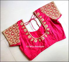 Stunning pink color bridal designer blouse with floral and . Stunning pink color bridal designer blouse with floral and mango design hand e - Wedding Saree Blouse Designs, Pattu Saree Blouse Designs, Blouse Designs Silk, Golden Blouse Designs, Simple Blouse Designs, Stone Work Blouse, Hand Work Blouse Design, Maggam Work Designs, Sumo