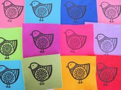 Jane Foster's screen printed felt birds that were later to become brooches.