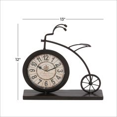 Bicycle Clock, Penny Farthing, Metal Clock, Vintage Fashion, Vintage Style, Black Rubber, Vintage Designs, Vintage Inspired