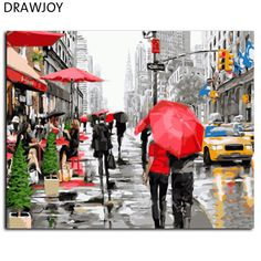 TianMai New Paint by Number Kits - New York City Street View inch Linen Canvas Paintworks - Digital Oil Painting Canvas Kits for Adults Children Kids Decorations Christmas Gifts (No Frame) Wall Art Pictures, Canvas Pictures, Oil Painting On Canvas, Diy Painting, Urban Painting, Painting Lessons, Watercolor Painting, Diy Canvas, Canvas Art