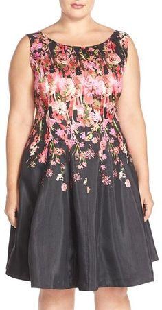 Plus Size Floral Shantung Fit & Flare Dress