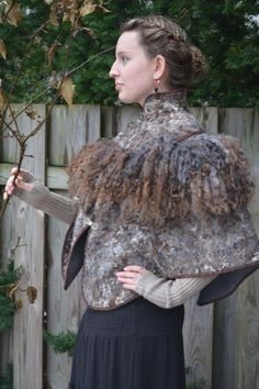 "Eco and Boho fashion felted Pluz Size cape from natural A-Grade merino lamb wool (with antique furniture) ""Modern"" OOAK"