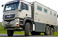It's an RV for Billionaires... Looks like a garbage truck on the outside, but it's nicer that YOUR house inside - and goes ANYWHERE!