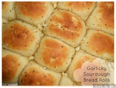 These seasoned garlicky sourdough bread rolls are the best garlic rolls ever. They are seasoned, bursting with flavor, and so buttery soft. Try them today! Sourdough Recipes, Bread Recipes, Cooking Recipes, Starter Recipes, Sourdough Rolls Recipe No Yeast, Gluten Free Sourdough Bread, Paleo Bread, Amish Recipes, Cheesy Recipes