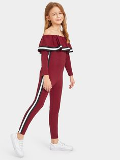Shop Girls Flounce Off Shoulder Striped Tape Trim Jumpsuit online. SHEIN offers Girls Flounce Off Shoulder Striped Tape Trim Jumpsuit & more to fit your fashionable needs. Girls Summer Outfits, Dresses Kids Girl, Cute Girl Outfits, Cute Outfits For Kids, Cute Casual Outfits, Stylish Outfits, Clothes For Kids, Girls Fashion Clothes, Tween Fashion