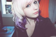 Love the ombre purple underneath the white blonde x