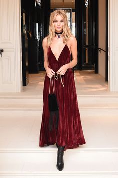 Rosie Huntington-Whiteley rocking full-length red velvet at the Ralph Lauren show at New York Fashion Week