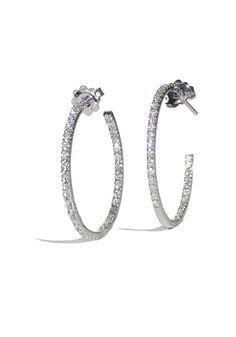 Garavelli White Gold Diamond Inside/Outside Hoops 4 Diamonds, White Gold Diamonds, Gold Hoop Earrings, Diamond Earrings, Diamond Are A Girls Best Friend, Jewelry Trends, Minerals, Jewelry Design, Jewels