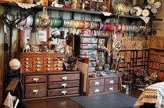 VictorianStudio.com - Where Bloggers Create - I love her vintage wooden containers!