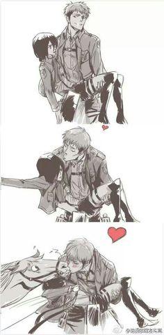Attack on Titan / Shingeki no Kyojin - Jean Kirstein and Mikasa Ackerman Attack On Titan Funny, Attack On Titan Ships, Attack On Titan Anime, Armin, Eren X Mikasa, Rin Okumura, Cosplay Meme, Manga Anime, Another Anime