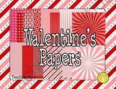 Valentine's Day Papers product from Sweet-Pickles-Graphics on TeachersNotebook.com