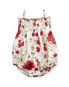 Sleeveless+Floral+Bubble+Playsuit,+White/Multicolor,+Size+3-18+Months+by+Dolce+&+Gabbana+at+Neiman+Marcus.