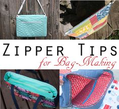 Several ways to insert a zipper into a bag, including zippered pockets, zippered pouch, recessed zipper, zippered mesh pocket, and more!