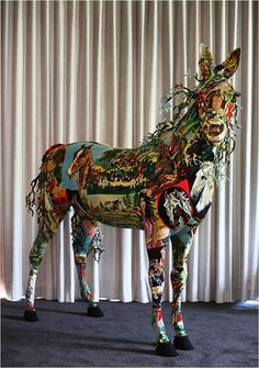 Tapestry taxidermy horse by Frederique Morrel.