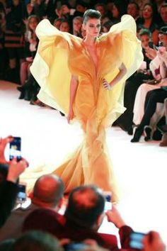 A model presents a creation by Stephane Rolland as part of his Haute Couture Spring-Summer 2014 fashion show in Paris, January 21, 2014.  RE...