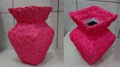 Como fazer acabamento de vaso com papel crepom - vaso de caixa de leite!