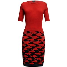 Rumour London - Sea & Sky Red Knitted Dress ($252) ❤ liked on Polyvore featuring dresses, pattern dress, knee high dresses, mixed print dress, round neck dress and red houndstooth dress
